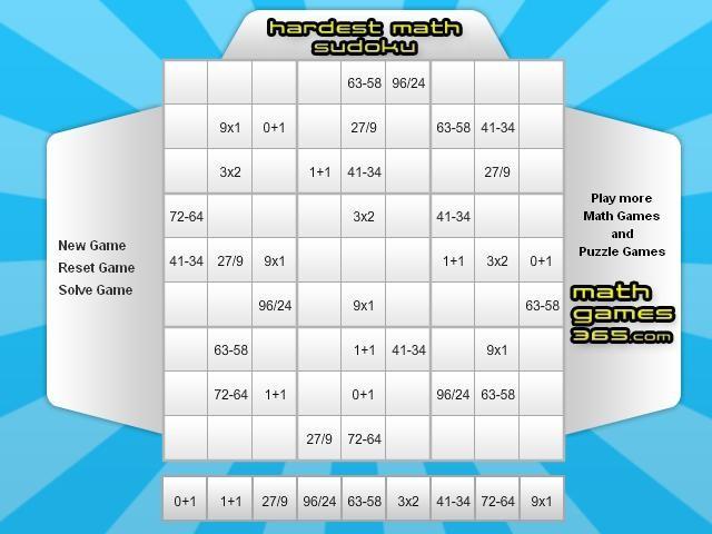 Online hra Matematické SuDoKu